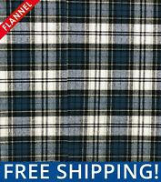 Teal Tartan Plaid Cotton Flannel Fabric, by The Yard #FP10 - Free Shipping!!