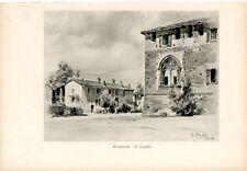 Stampa antica BEREGUARDO veduta del castello Pavia Grossi 1933 Old print
