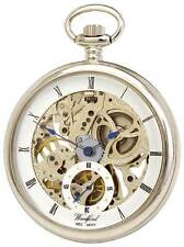 Pocket Watch Chrome Plated Open Face Skeleton Hand Woun Full Size Woodford 1043