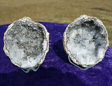 White Chalcedony Quartz MEXICAN Geode Pair Points CRYSTAL Geodes Twin Trancas