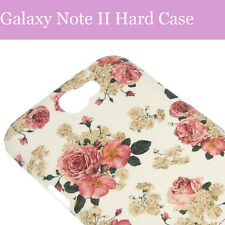 Samsung Galaxy Note 2 II Weiß Blume Flower Hard Back Case Cover Hülle Tasche