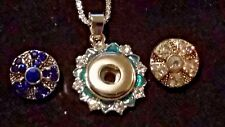 2 Snaps(Sparkly White/Blue Topaz), Aquamarine Trimmed Snap Pendant,16 inch Chain