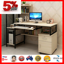 Office Computer Desk Table Home Workstation Study Stand White Oak Multiple Shelf