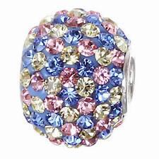 .925 Sterling Silver Birthstone Round Crystal Bead Fits Eurpean Charm Bracelet