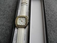 New - Andre Giroud Quartz Ladies Watch with a White Leather Band