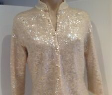 Vintage Evening Seqent Cream Cardigan Fully Lined