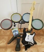 Xbox 360 Rock Band Guitar Hero Bundle Drums Guitar Pedal Wired Rockband 2 TESTED