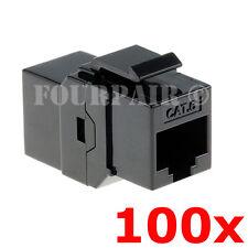 100 Pack - CAT6 Inline Coupler Keystone RJ45 Female Snap-In Jack Insert - Black