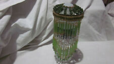 BEAUTIFUL ANTIQUE VINTAGE CZECH GLASS GREEN LAMP SHADE BULB COVER LAMP FRINGE