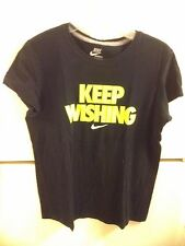 WOMEN'S NIKE T-SHIRT SIZE L. BLACK KEEP WISHING