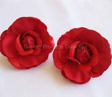 Red Rose Wedding Bride Hair Flower Clip Barrette - One Pair
