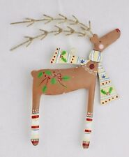 GISELA GRAHAM CHRISTMAS ANIMAL MAGIC PAINTED TIN REINDEER WITH SCARF DECORATION