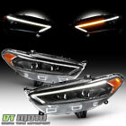 Blk 2013-2016 Ford Fusion Switchback Led Drl Dual Projector Headlights Headlamps