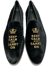 RAMON TENZA MEN'S 'KEEP CALM AND CARRY ON' BLACK VELVET LOAFERS, 42, $395
