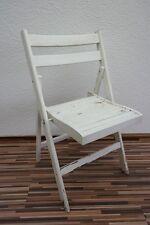ancienne Chaise pliante, de camping, jardin, blanc Chaise, en bois