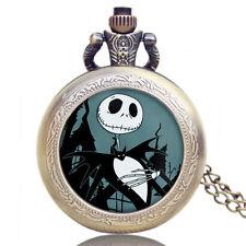 Claasic Jack Skellington Tim Burton The Nightmare Quartz Pocket Watch Xmas Gift