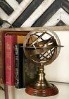 Antique Vintage Zodiac Armillary Brass Sphere Globe Wooden Display
