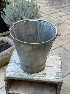 Vintage Indian Tata Steel Bucket Swing Handle Riveted Salvage Garden Planter