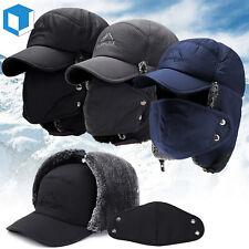 Winter Men's Fur Hunting Trapper Basebal Hats Ear Flap Face Mask Aviator Ski Cap
