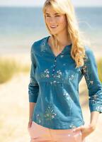 Brakeburn Womens Ladies Teal Blue Posey Pop Over Summer 3/4 Sleeve Blouse
