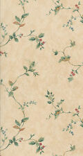 Meandering Floral Vines Wallpaper in Cream, Green, Red, Blue & Gold       117116