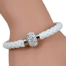 Ladies White Braided PU Leather Bracelet Rhinestone Magnetic Wristband Stylish