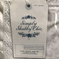 Simply Shabby Chic King Pillow Sham White Delight Rose Jacquard Crochet Lace New