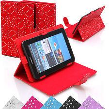 Universal Bling Cuero Diamante Funda con Soporte Funda Para 7 Inch Tabletas Tab