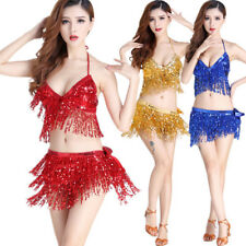 Belly Dance Costume Bra Top + Hip Scarf Set Sequined  Fringe Bollywood Costume