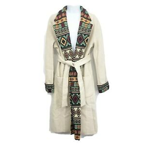 J Peterman Womens Even Greater Expectations Coat Size 4 Boucle Wrap Southwestern