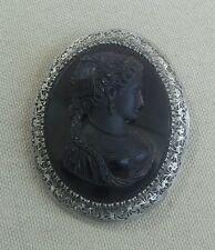 Ancienne broche en cristal moulée gravée et argent fin XIX ème