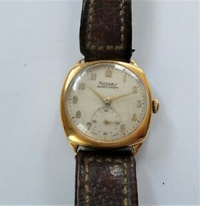 1950's Gold Capped Rotary Cushion Shaped 15 Jewels Wrist Watch Working