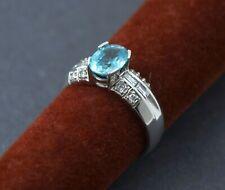 Ladies 14K White Gold Blue Zircon Ring W/ Diamonds & Appraisal