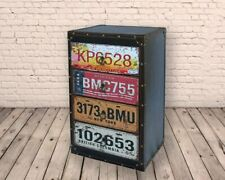 Retro Vintage American USA Number Plates 4 Drawer Side Cabinet Storage FREE P+P