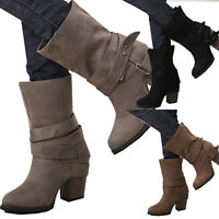 Womens Winter Martin Ankle Boots Buckle Mid Calf Block Heel Winter Shoes Casual