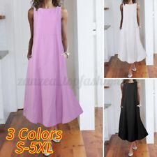 Womens Sleeveless Cotton Long Maxi Dress Ladies Casual Loose Swing Shirt Dresses