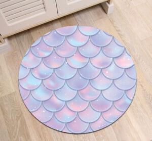 Mermaid Tail Fish Scales Design Round Mat Bedroom Carpet Living Room Area Rugs