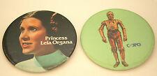 """2 Original Rare 1977 Star Wars Movie 3"""" Button Pins NOS C-3PO Princess Leia"""