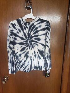 New Black White Tye Dye Top L