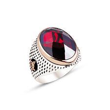 925 New design TURKISH OTTOMAN Red Zircon Men Ring We Have All Sizes
