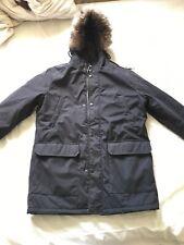 mens parker jacket Black Livergy Medium To Large Faux Fur Hood Parka