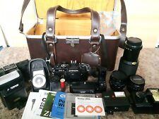 vintage chinon CE-4 camera set bundle joblot Case + accessories UNTESTED Props