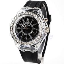 1PCS Black Women Geneva LED Backlight Crystal Sport Quartz Wrist Watch