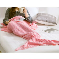 180cm Soft Crocheted Mermaid Tail Blanket Sofa Sleeping Bag for Adult Pink