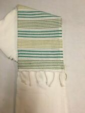 Threshold Green/Aqua Stripe Fringe Shower Curtain