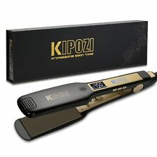 KIPOZI Salon Hair Straightener 1.75 Inch Wide Flat Iron Titanium Digital Display