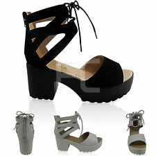 NEW WOMENS LOW BLOCK HEEL ANKLE TIE LACE UP PEEP TOE CUT OUT PLATFORM SHOES SIZE