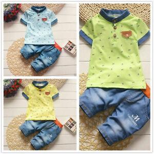 2pcs Kids Baby Boys Fashion cotton Short Sleeve T-shirt +Shorts Casual Clothes