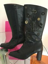 Hispanitas Boots Black Leather Tassel & Flower & Button Detail Size 39