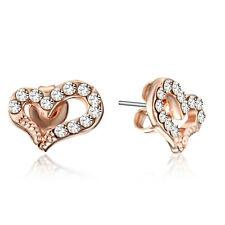 Beautiful Rose Gold Filled Love Heart Small Crystal Stud Earrings US4GM132